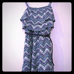Justice for girls size 12 navy green zigzag romper